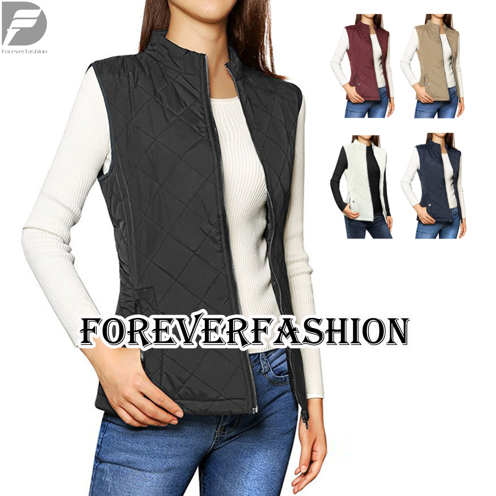 Women's Stand Collar Zip Up Front Gilet Quilted Padded Vest