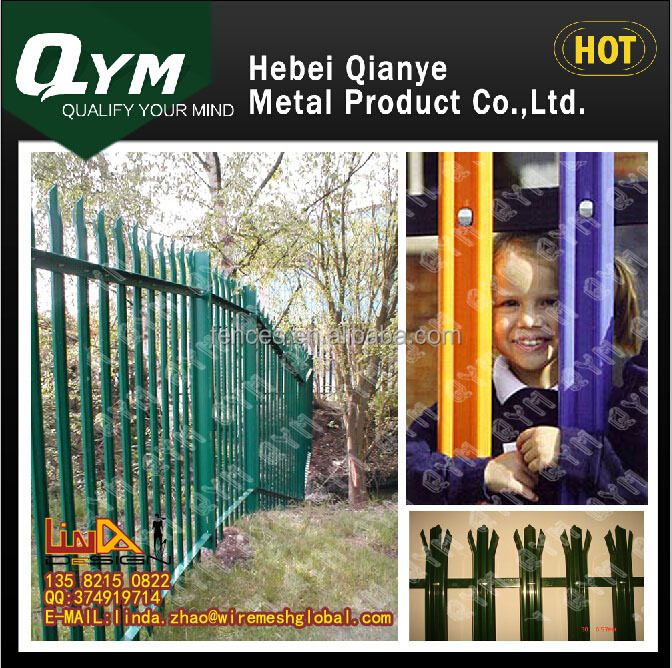 2015 Top quality Outdoor Rust Proof Powder Coated Hot Dip Galvanized Steel Palisade Fencing