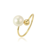 15389 Fashion women copper alloy jewelry opening imitation pearl ring