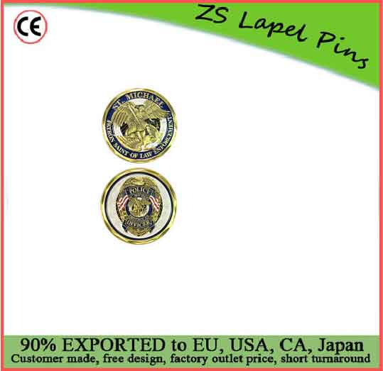 Free artwork design custom quality ST Michael Patron Saint of Law Enforcement Challenge Coin