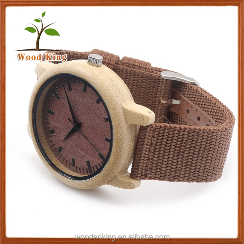 Creative Model Of Pure Natural Bamboo Wooden Nylon Strap With Coffee Fashion Quartz African Watches
