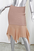 Beige Tan Rayon Knit Pencil Straight Ruffle Knee-Length Skirt fashion Clubwear Cocktail Party Club evening party sexy dresses