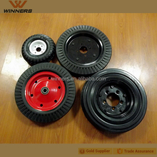 "heavy duty wide solid rubber powder wheel 16""x4"""
