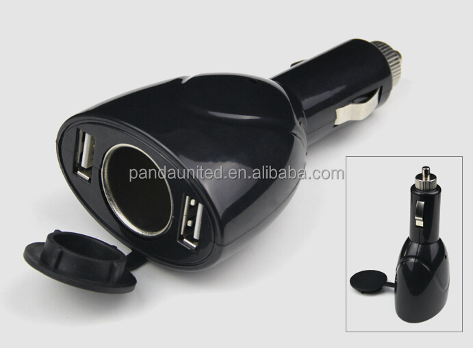 DC 12/24V Dual USB Car Charger Adapter with Cigarette Lighter Socket