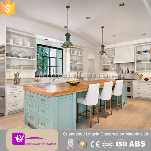 Europe shaker style white green blue wooden kitchen for Shaker kitchen cabinets wholesale