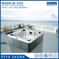 Hot sale 6 person used hot tub acrylic outdoor massage spa tub with US Balboa control M-3322