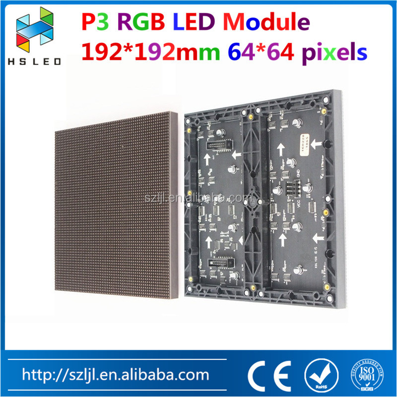 192*192mm rgb smd P3 indoor outdoor led display board / high quality hd led display P3