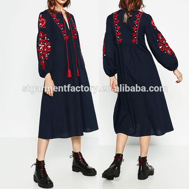 Ethnic Style Women Fashion Dress V-Neck Tassel Bubble Sleeve Ladies Skirt Clothes Embroidery Casual Party Long Dresses Sta-00178