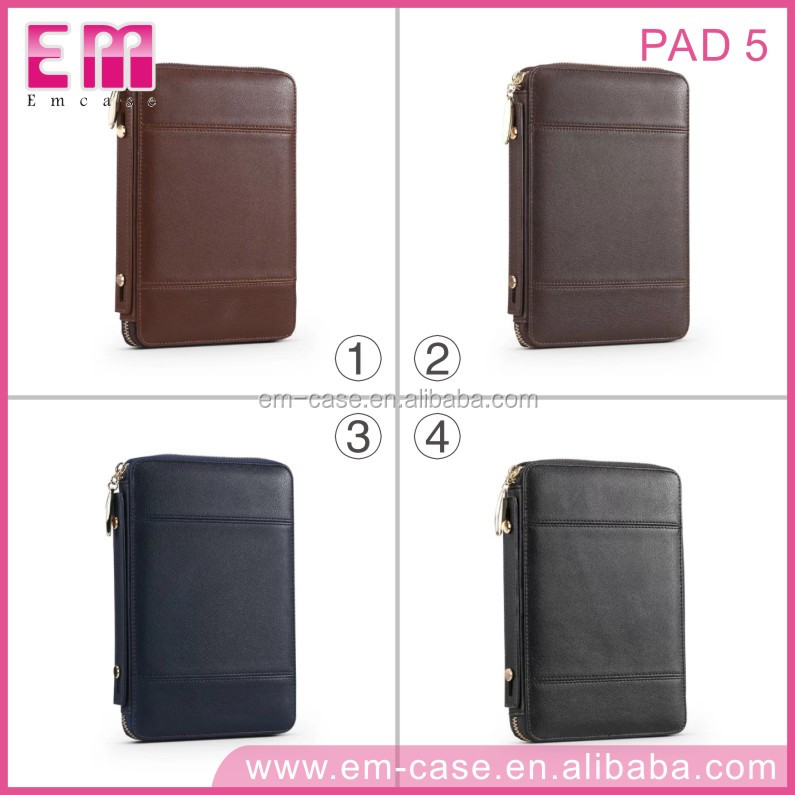 For iPad5 Mutifunctional Zipper Brief Case High Quality Leather Cell Phone Case With Card Phone Holder Case