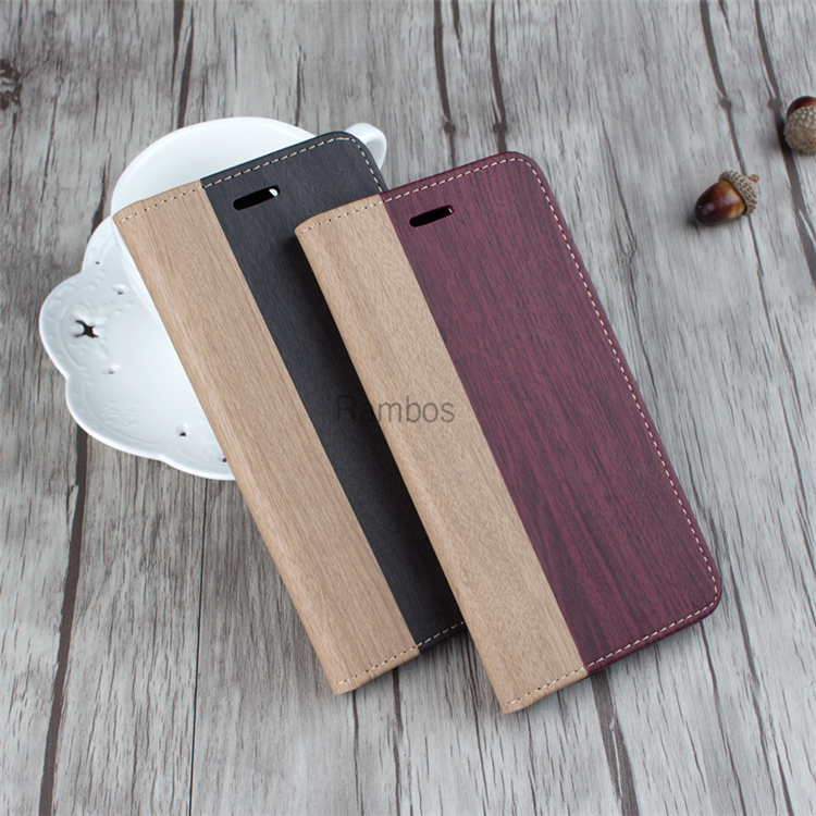 2016 Trending Products Wood Wallet Flip Cover Case Leather Mobile Phones Case for iPhone 5 5S 6 6plus