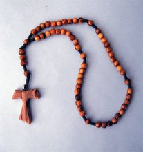 hand made olive wood TAU cross rosary/wooden rosary