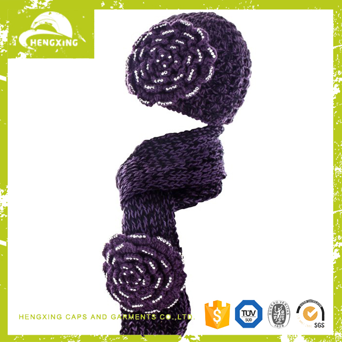 high quality wholesale knitted scarf beanie and scarf