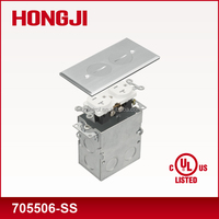 UL cUL listed 125V 15A Stainless steel/ Brass electrical floor outlet box with US receptacle