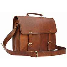 Custom durable leather laptop men messenger bag