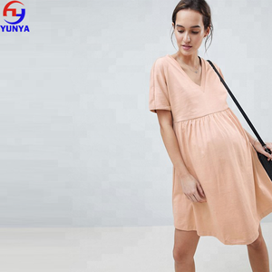 Plain design pregnant women blank V-neck cotton maternity dress
