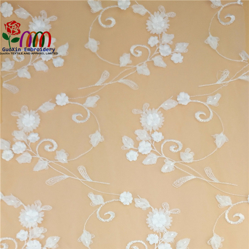 New Fashion Chinese Floral Design Embroidery Dubai Fabric 3d Lace