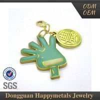 Hot Sell Hand Shaped Stainless Steel Logo Metal Charm