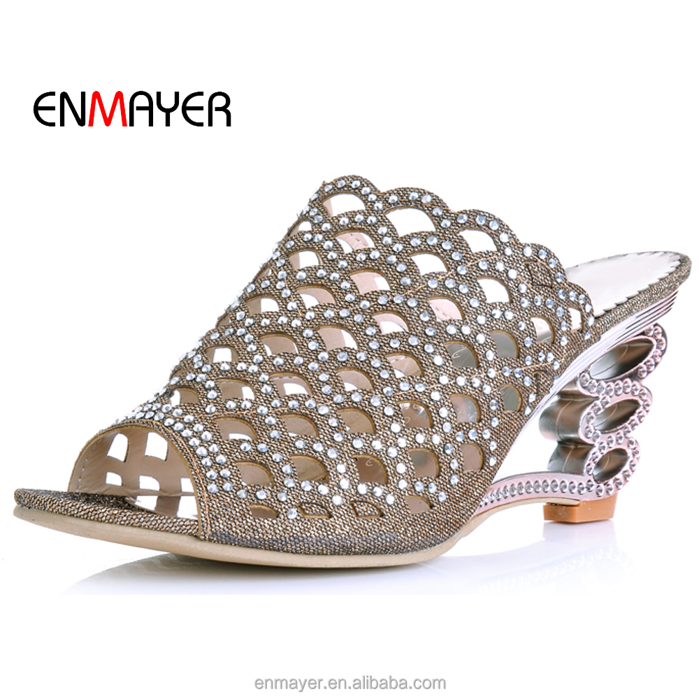 latest open toe ladies fancy rhinestone laser hollow out metallized fabric 7.5cm high heel <strong>slippers</strong> and sandals