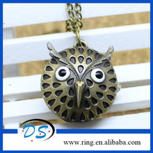 OWL STYLE VINTAGE BRONZE Cartoon POCKET WATCH PENDANT NECKLACE