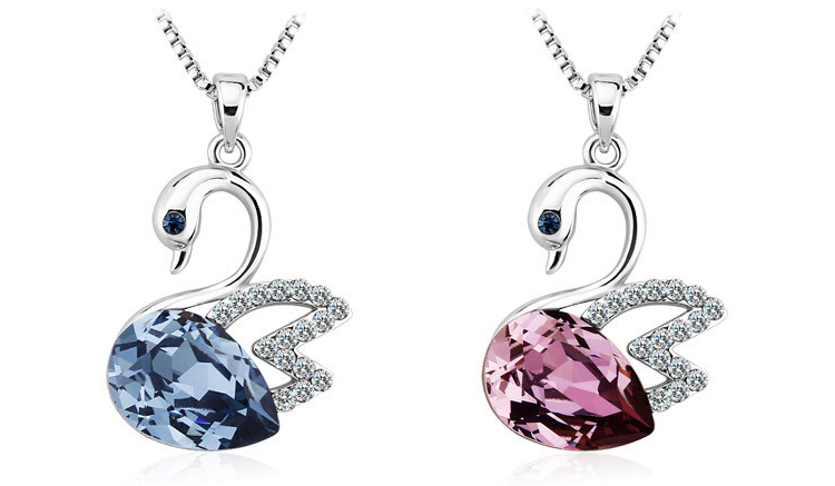 High quality fashion zinc alloy 18K rhodium lavender gemestone diamond swan pendant necklace