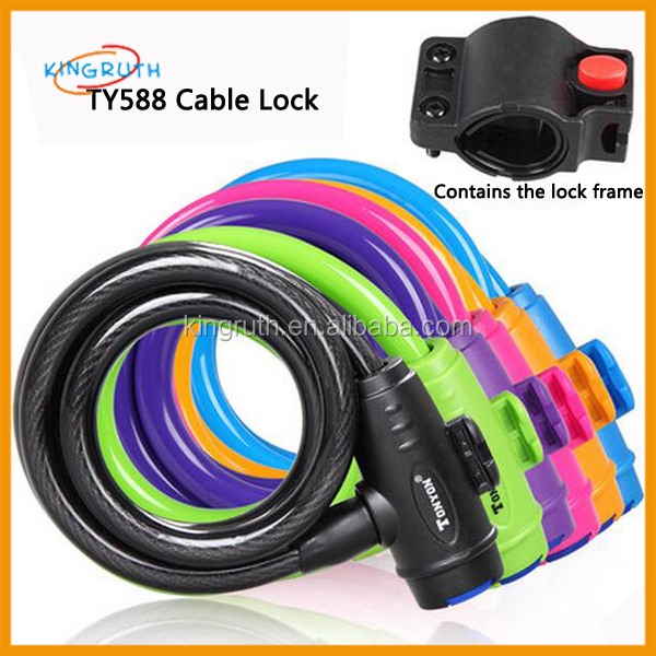 Heavy Duty Steel Cable Lock Cycle Spiral Security Bike Bicycle Cycling