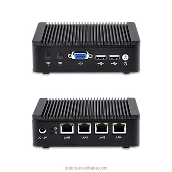 Fanless 4* Lan mini pc Qotom-Q190G4 baytrail J1900 X86 home router systerm