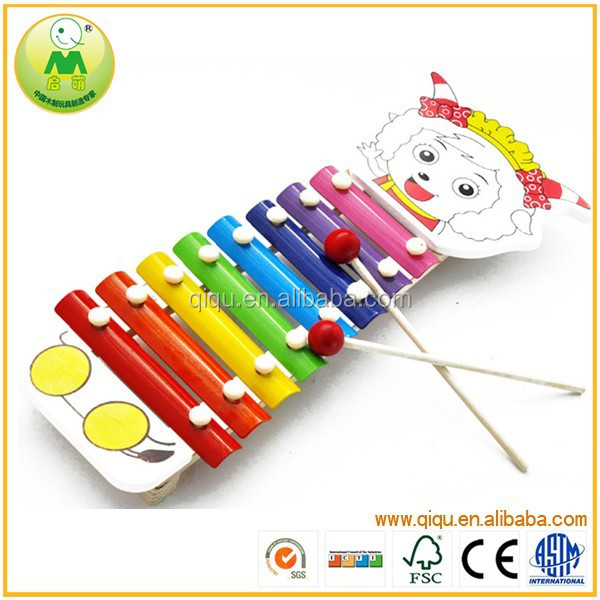 2015 Popular Kid Hand Knock Cartoon Celesta Wooden Shop Toy