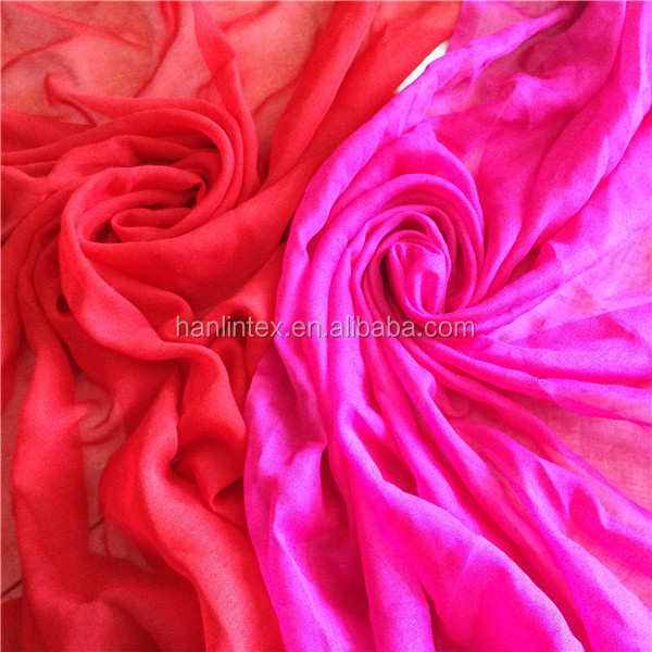 Thin Fabric Scarves Shawls Cheap 100% spun polyester Fabric Dyed Scarves Fabric