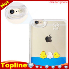 Liquid glitter star PC Materail 3D liquid yellow duck cell phone case for iphone 6