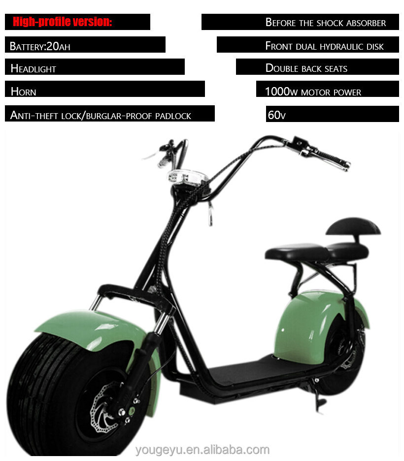 2016 new Halley electric scooter army green with seat with big wheel 60V20AH 1000W electric scooters for sale adults