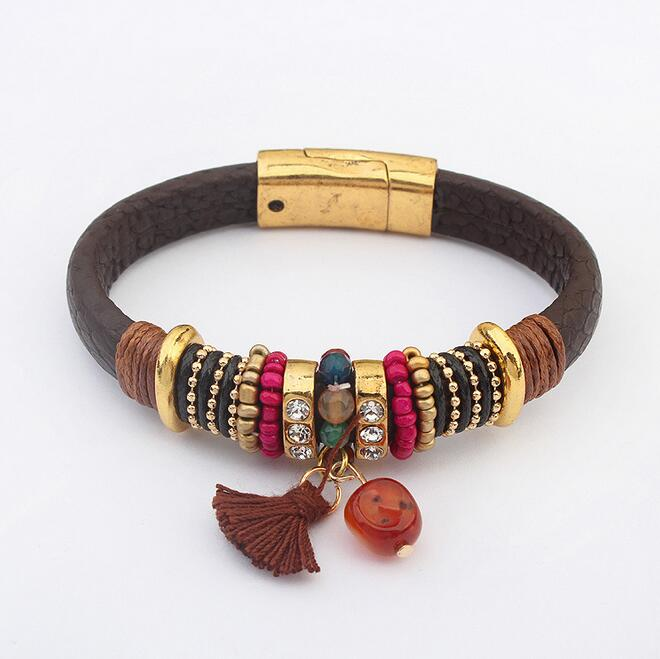 French Style High Quality Handmade Rondelle Charms Bracelet, Tassel Stone Charm Braclet, Fashion Gold Magnetic Buckle Bracelet