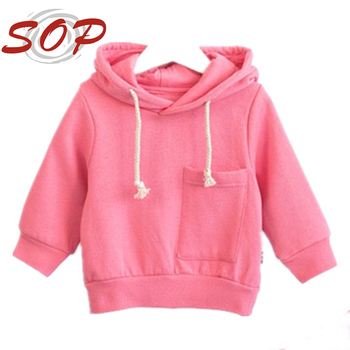 Impressive plain pink cotton kids pullover hoodies hooded sweatshirt with stylish pocket design for the most lovely baby girls