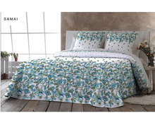 Light Blue Flower Polycotton Quilted Comforter Set