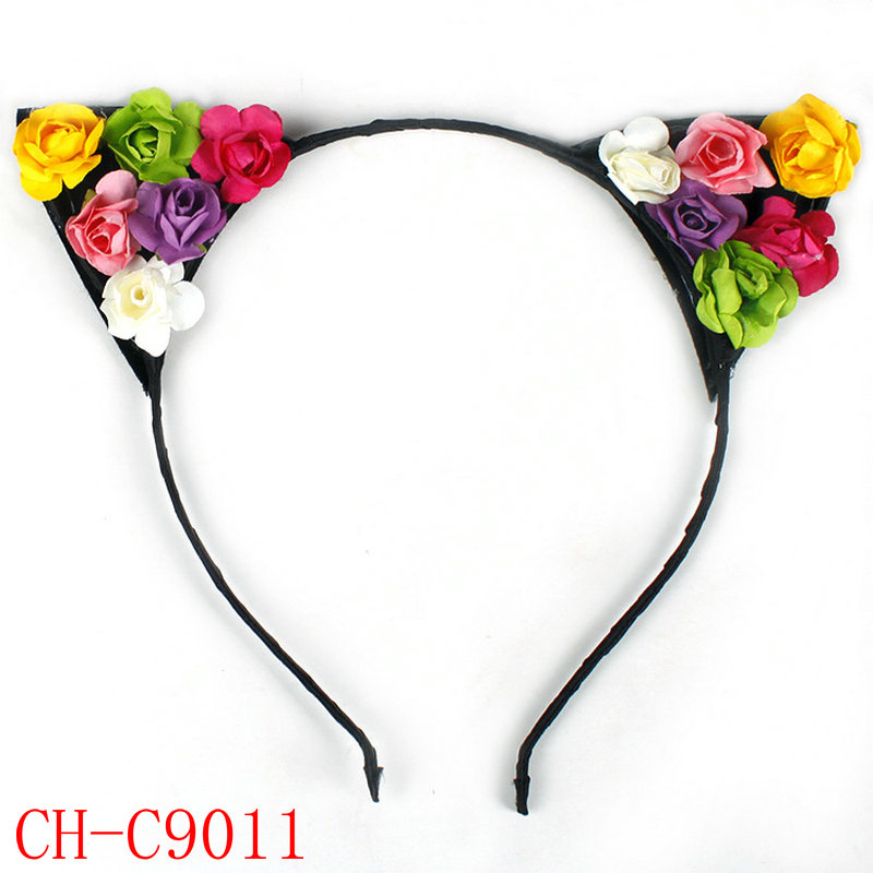 2017 wholesale cute colorful rose cat /rabbit ear children hair hoop