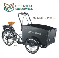 Three wheel bicycle electric cargo bike tricycle with 6 speed cargobike / bakfiets for adult UB9019E trikes
