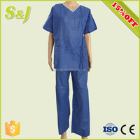 Disposable Patient Gown Protective Body Suit with Short Sleeves