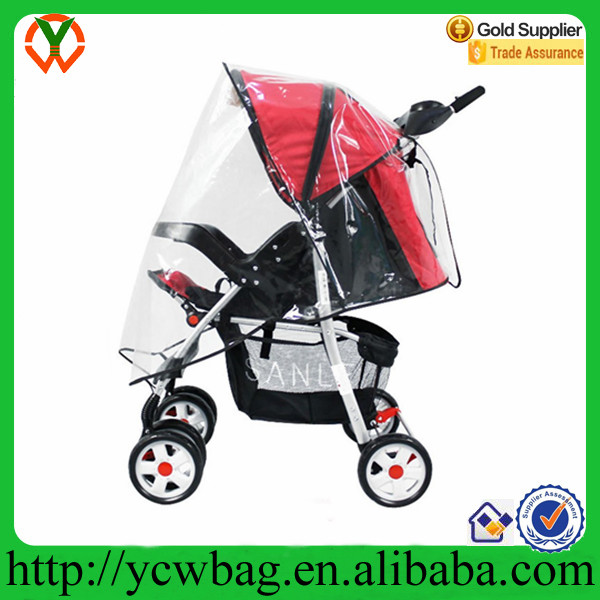 Fashion outdoor clear transparent PVC baby stroller rain cover