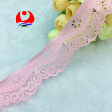 Fancy Pink Raschel Flower Lace Trim for Lady Underwear Decoration