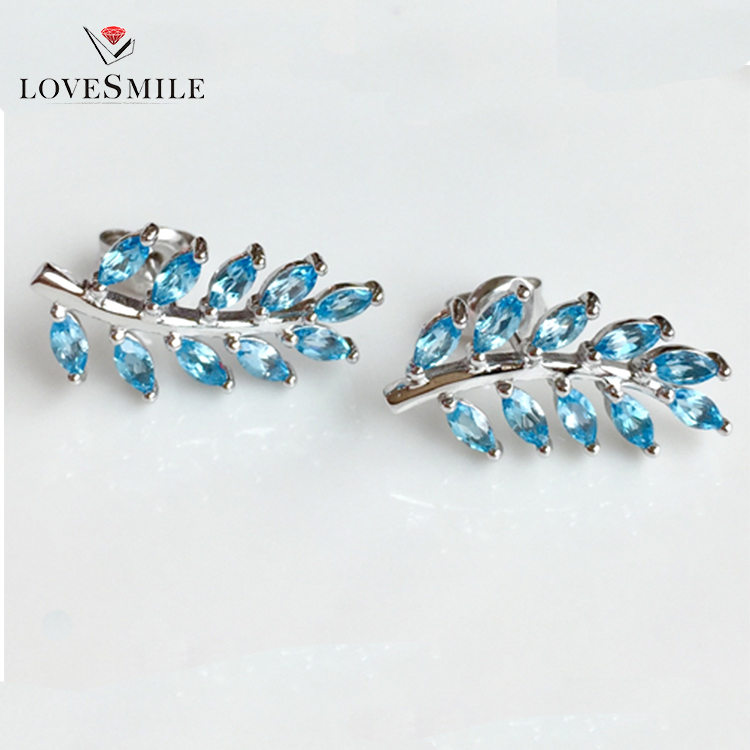 fashion jewelry 2018 925 sterling silver jewelry <strong>earrings</strong> for women london blue topaz