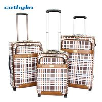 Trolley PU leather luggage case hard shell abs+pc luggage suitcase
