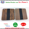 2015 New and Hot Sale bamboo book case for iphone 6 wood leather flip case IPC365