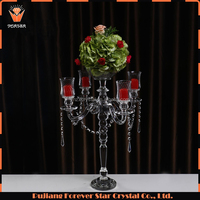 new cheap 5 arm clear crystal candelabra wedding decoration flower stand