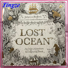 2015 Wholesale new arrive hand-painted secret garden series lost ocean adult coloring books