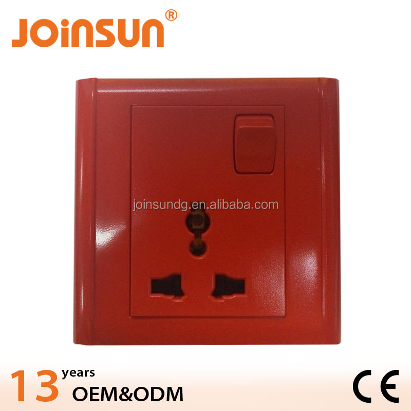 red 13A multi-functional wall single socket WITH SWITCH