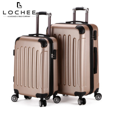 Zipper Plastic Carryon Gold Hardcase Luggage Set Suitcase Wheel 4