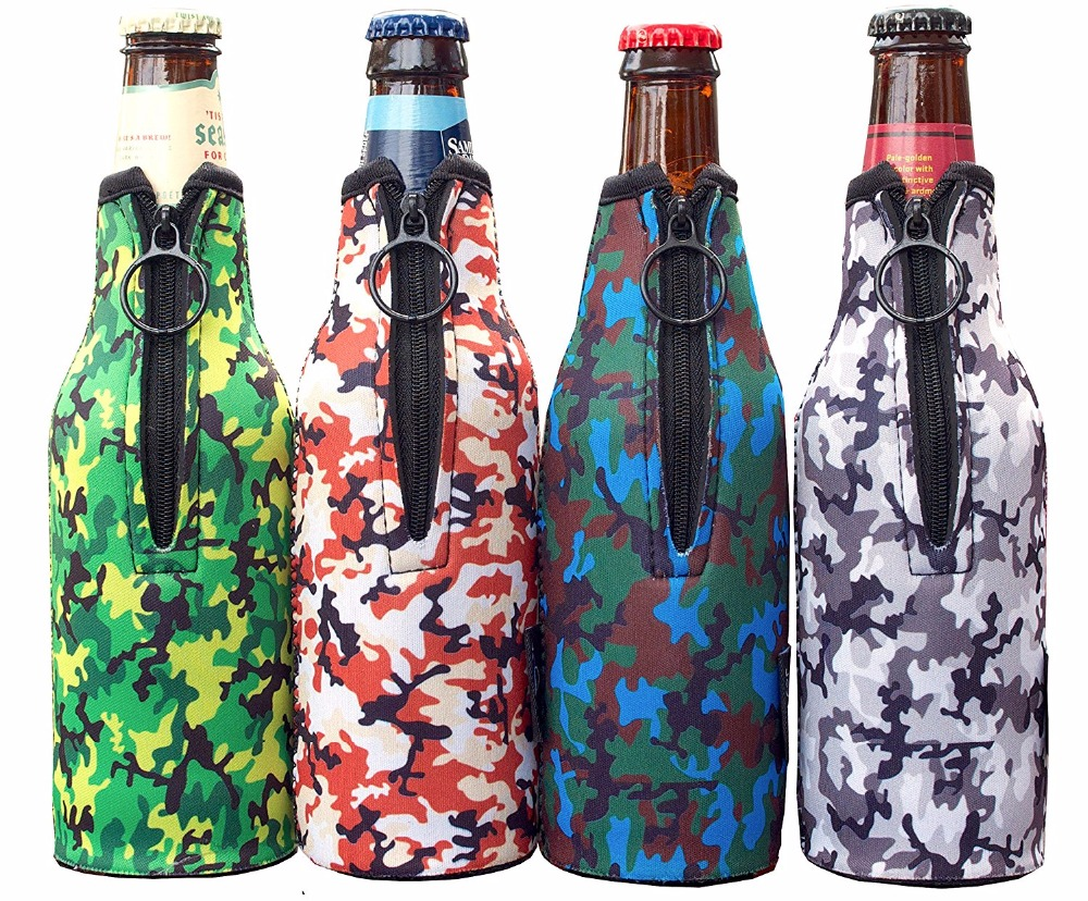 Pack of 4 Camo Thick Neoprene 12 Oz Beer Coolers Coolies Bottle Sleeve Holder with Zipper