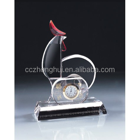 2016 Graceful cock model crystal clock with crystal base