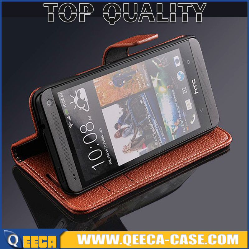With Photo frame & strap & card slot holder top quality Smartphone flip cover wallet case for HTC ONE M7 leather case