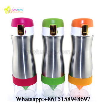 2017 New Flip Cap Stainless Steel Lemon Bottle Fruit Water Bottle Hot Seller
