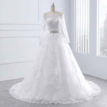 Lace Appliques Sashes Big Bow Long Sleeve Off Shoulder Ball Gown Wedding Dresses